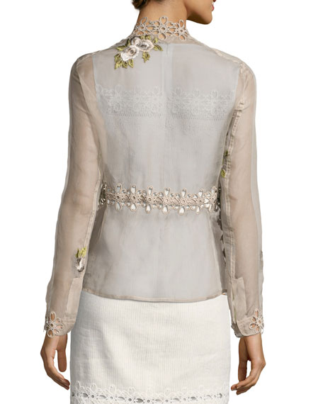 Katya Floral-Applique Silk Jacket, Light Brown