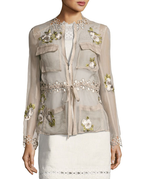 Elie Tahari Katya Floral-Applique Silk Jacket, Light Brown