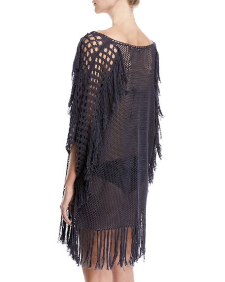 New Romantics Crocheted Caftan Coverup with Fringe, Charcoal