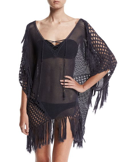 Suboo New Romantics Crocheted Caftan Coverup with Fringe,