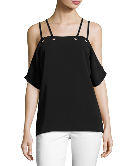 Ramy Brook Justine Cold-Shoulder Top, Black