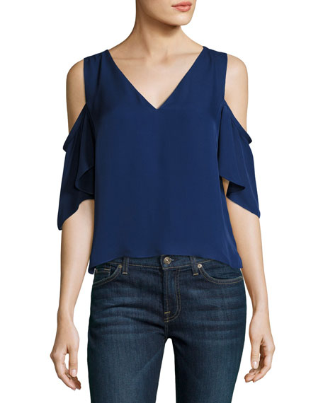 Judy Crepe Cold-Shoulder Top, Navy
