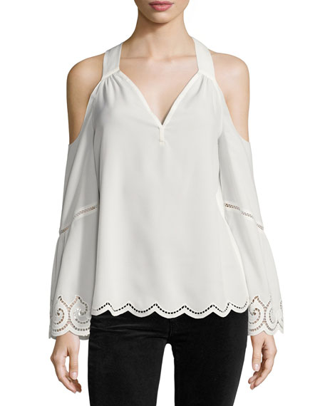 Ramy Brook Drew Cold-Shoulder Lace-Trim Top, Ivory