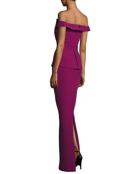Off-the-Shoulder Peplum Column Gown, Cranberry