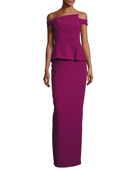 Black Halo Off-the-Shoulder Peplum Column Gown, Cranberry
