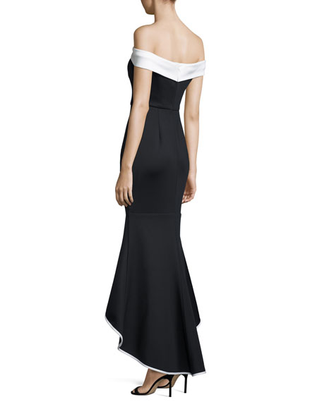 Off-the-Shoulder Two-Tone Satin Mermaid Gown, Black/White