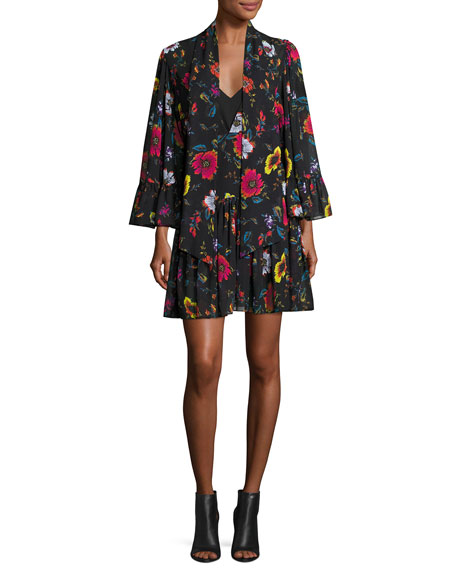 McQ Alexander McQueen Bell-Sleeve Floral Chiffon Mini Dress,