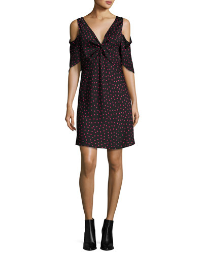 Polka-Dot Satin Cold-Shoulder Mini Dress, Black