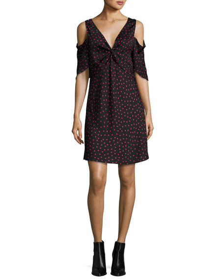 McQ Alexander McQueen Polka-Dot Satin Cold-Shoulder Mini Dress,