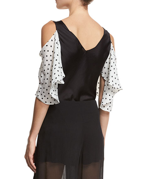 Polka-Dot Chiffon Cold-Shoulder Top, Ivory