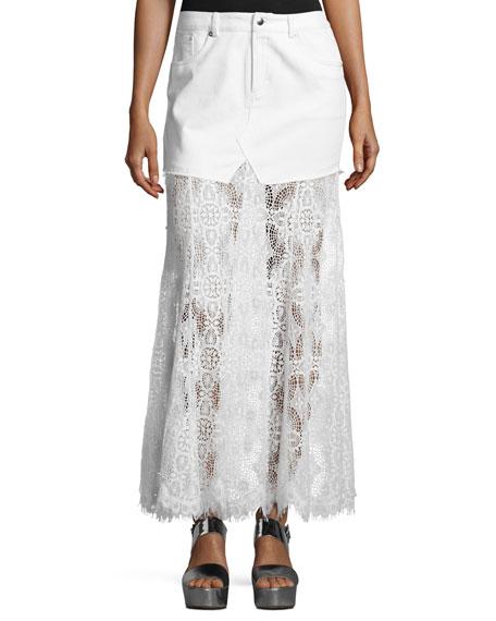 McQ Alexander McQueen Denim & Lace Maxi Skirt,