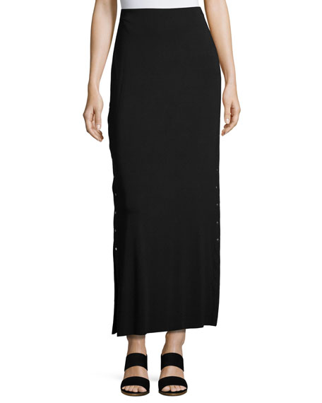 Cain Splice Side-Snap Maxi Skirt, Black