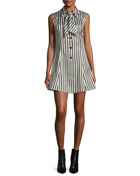McQ Alexander McQueen Sleeveless Striped Satin Fit-and-Flare Mini