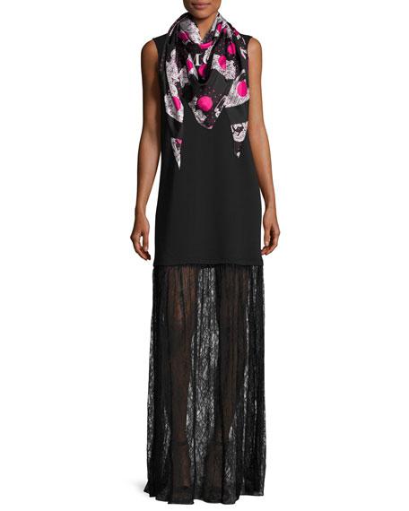 Sleeveless Jersey & Lace Mixed-Media Maxi Dress, Black