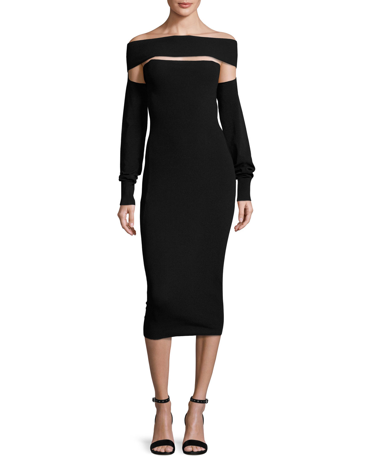 Cut-out shoulder wool-blend dress Alexander McQueen YYIlG