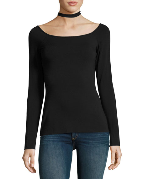 Long-Sleeve Choker Top, Black