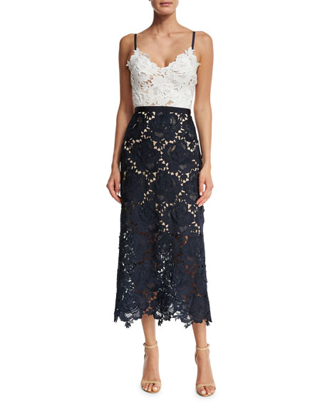 Catherine Deane Sleeveless Two-Tone Lace Midi Dress, Ivory/Navy
