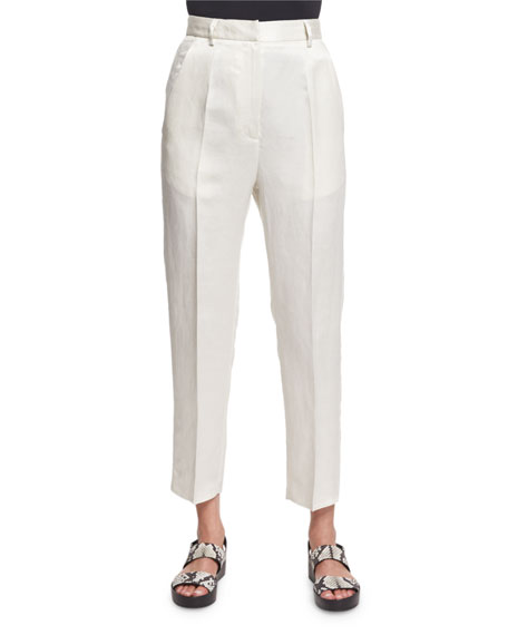 Maison Margiela Cropped Linen-Blend Trousers, Off White