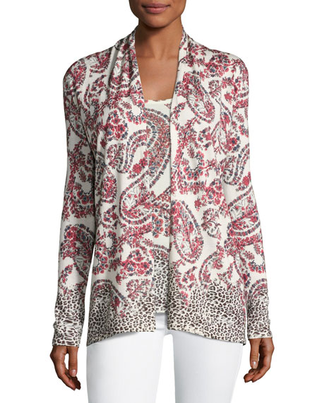 Neiman Marcus Cashmere Collection Superfine Floral Paisley Open