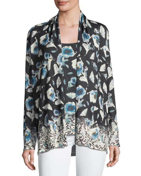 Neiman Marcus Cashmere Collection Superfine Poppy Open Cardigan