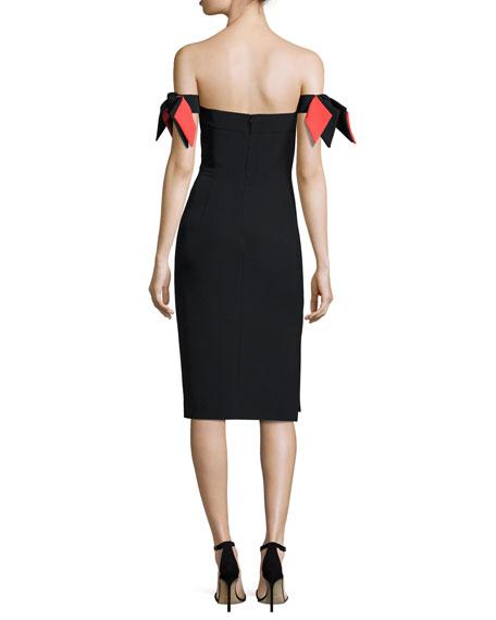 Strapless Bow-Sleeve Italian Cady Midi Dress
