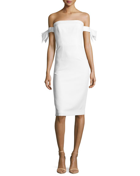 Milly Strapless Bow-Sleeve Italian Cady Midi Dress