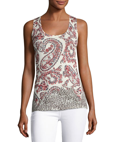 Neiman Marcus Cashmere Collection Superfine Floral Paisley