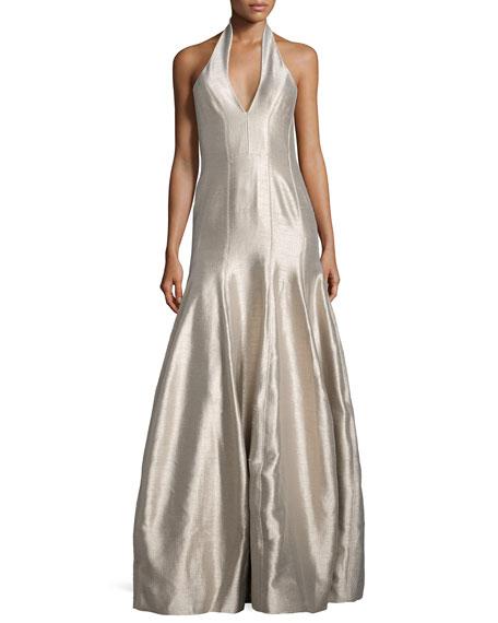 Halston Heritage Faille Halter Tulip Gown, Platinum
