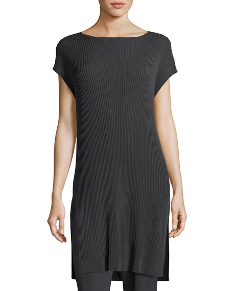 Eileen Fisher Cap-Sleeve Bateau-Neck Tencel?? Ribbed Tunic