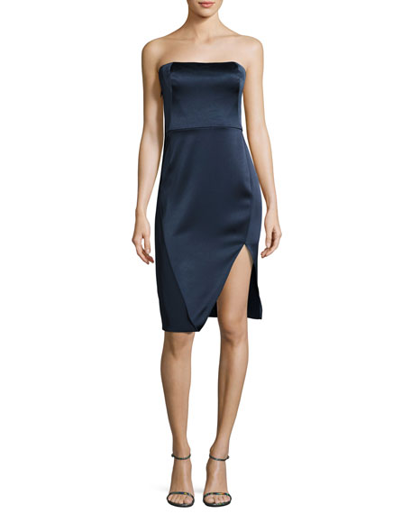 Strapless Draped Satin Mini Dress, Dark Navy