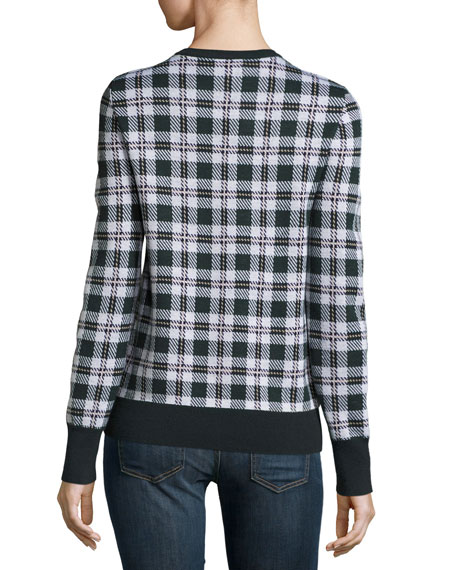 Shane Plaid Wool Sweater, Ivory Multi
