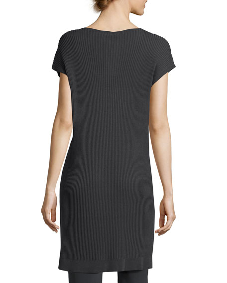 Cap-Sleeve Bateau-Neck Tencel® Ribbed Tunic