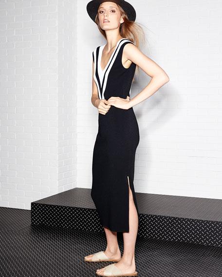 Daphne V-Neck Sleeveless Midi Sweaterdress, Black/White