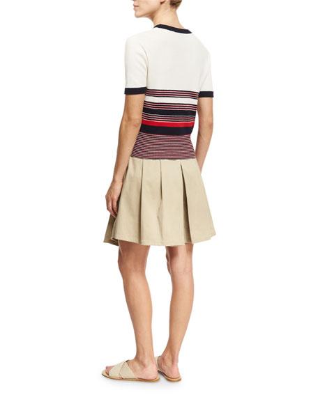 Krista Striped Short-Sleeve Sweater, Off White