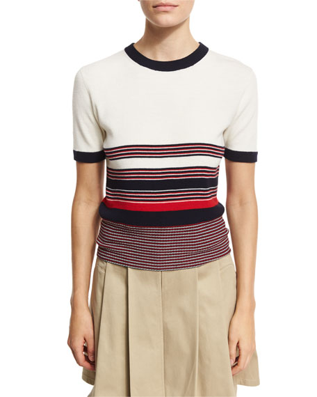 Krista Striped Short-Sleeve Sweater, Off White