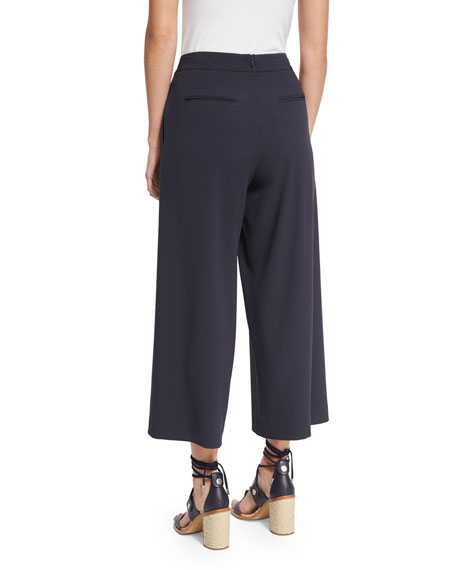 Rowe Pleated Cropped Wide-Leg Pants, Dark Blue