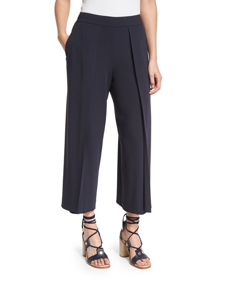 Rag & Bone Rowe Pleated Cropped Wide-Leg Pants,