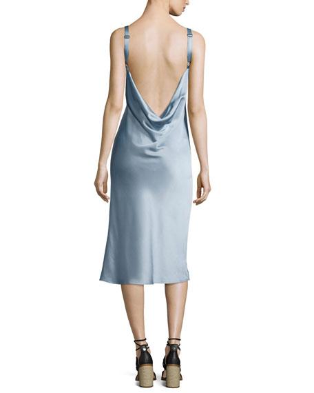 Kaplan Satin Slip Dress, Light Gray
