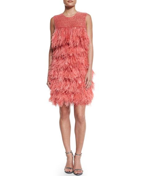 Naeem Khan Sleeveless Embellished Cocktail Dress, Coral