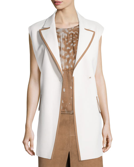 Snap-Front Two-Tone Long Vest