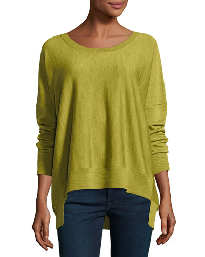 Merino Jersey High-Low Top, Peridot Green