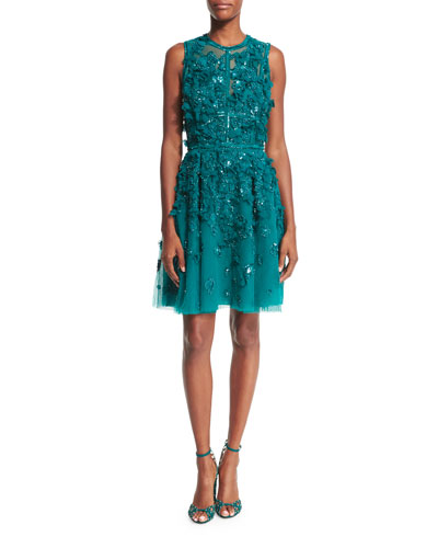 Sleeveless Embroidered Tulle Cocktail Dress, Emerald