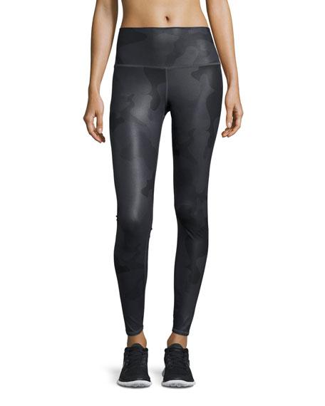 Alo Yoga Airbrush Camouflage-Print Sport Leggings, Black Camo