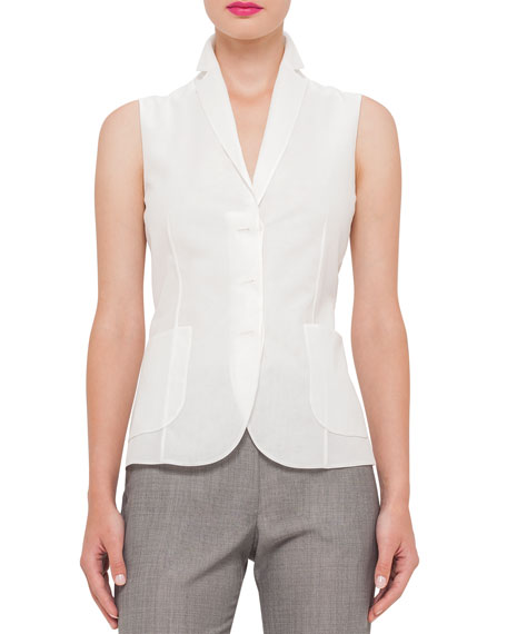 Akris Cotton-Voile Sleeveless Gilet Blouse, Anemone