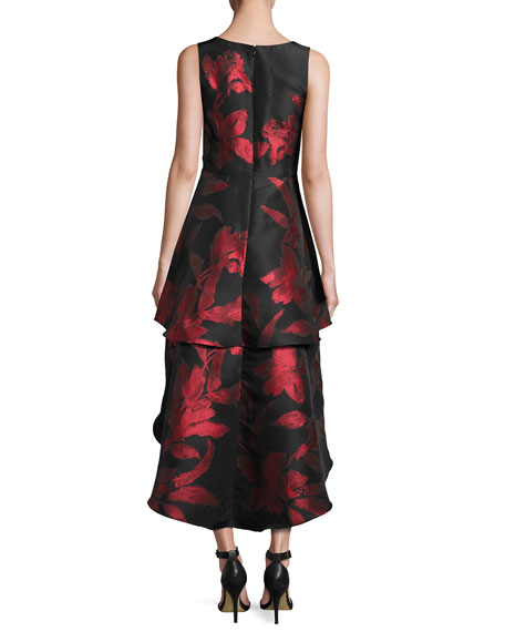 Sleeveless Tiered Floral Jacquard High-Low Dress, Black/Red