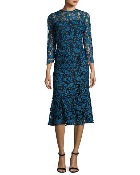 Shoshanna 3 4 Sleeve Lace Two Tone Midi Dress Blue Black
