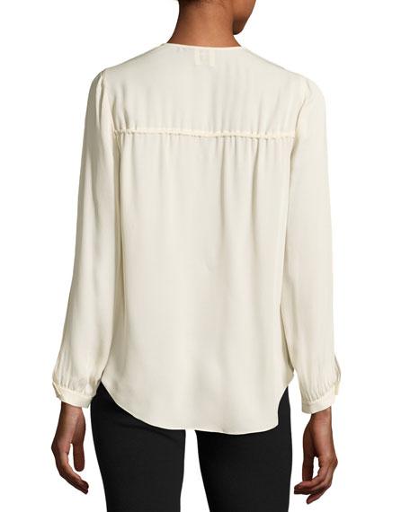 Classic Silk Cowl Blouse, Antique White
