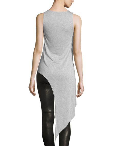 Heathered Jersey Asymmetric Tank, Light Gray
