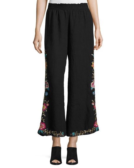 Johnny Was Tuscany Embroidered Linen Palazzo Pants