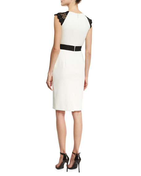 Structured Jersey Lace-Trim Cocktail Dress, Black/White